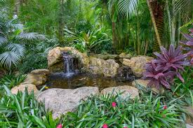 landscaping artificial rock garden pond stock photo image of