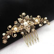 vintage hair combs antique brass hair comb bridal hair comb wedding hair accessory