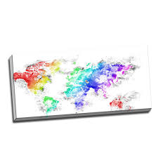 World Map Canvas by Bright World U2013 Map Canvas Art Pt2740 Finecraft Art