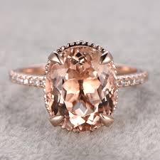 morganite bridal set 11x9mm 4 5ct oval cut morganite engagement ring 14k gold