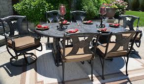 oval aluminum patio table amalia 6 person luxury cast aluminum patio furniture dining set with