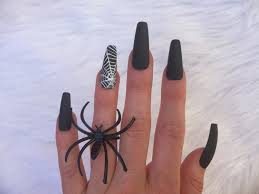 matte black spiderweb nails set of 10 long coffin nails for