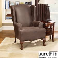 Slip Cover Round Back Chair Covers Furniture Beige Wingback Chair Slipcover With Round Table And