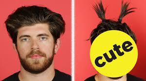 guys hair girls try styling guys hair youtube