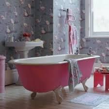 teenage bathroom ideas with pink clawfoot tub and wallpaper cool bathroom cool teenage ideas with pink clawfoot tub and wallpaper