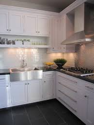 White Kitchen Tile Backsplash Kitchen White Cabinet Dark Grey Floor Tiles Lovely Kitchens