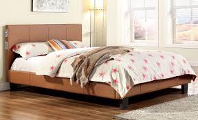 camel leatherette upholstered bed frame w bluetooth speakers