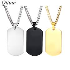 name tag necklace qitian custom engraved army name tag pendant necklaces statement