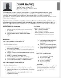 Quality Control Resume Sample by Quality Assurance Specialist Resumes For Ms Word Resume Templates
