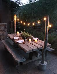 Outdoor Bulb Lights String by Make Diy String Light Poles With Concrete Stands For Outdoor