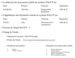 dispense haccp annexe n皸 1 exemple d 礬tude haccp sur les plats chauds diriger