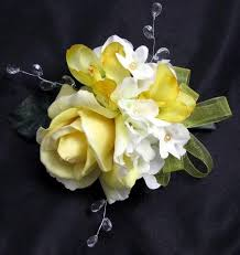 silk corsages yellow corsages debbiecoflowers silk wedding bouquets