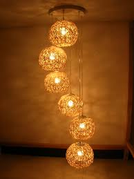 home decoration lights india free shopping 6 combination rattan spiral stair pendant lamps for