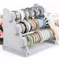 bracelet necklace organizer images Velvet bracelet holder 3 layers watch stand bangle display shelf jpg