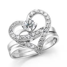 love rings silver images Womens 925 sterling silver love heart shape double rings gift for jpg