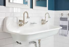 cast iron trough sink white and blue boy bathroom with vintage trough sink for vintage