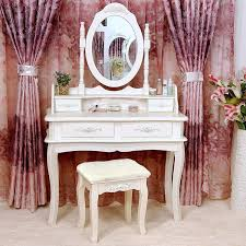 Vanity With Stool Tribesigns Makeup Vanity Table Set Bedroom Dressing Table With
