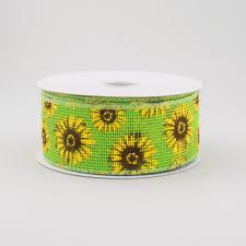 sunflower ribbon 1 5 lime green faux burlap sunflower ribbon 10 yards q715309