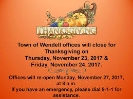 town offices will for thanksgiving on thursday november 23