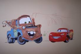 cars wall mural drawn and painted by eric with lightning mcqueen and mater