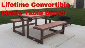 Convertible Picnic Table Bench Lifetime 60054 Convertible Simulated Wood Picnic Table Bench Youtube