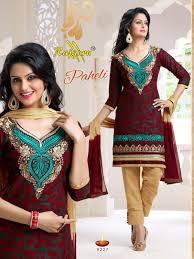 buy cotton dress material with chiffon dupatta by kusum u0027s