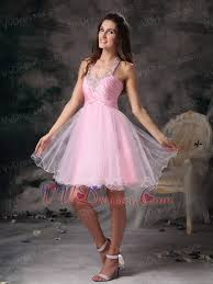 neck style organza mini length prom dress pink knee length