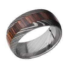 damascus steel wedding band men s damascus steel wedding band with cocobollo wood inlay