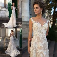 ivory wedding dresses vintage 2016 ivory wedding dresses sheer neck lace applique