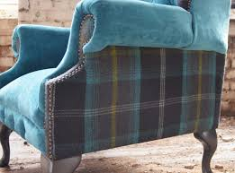 Tartan Chesterfield Sofa Chesterfield Armchair Fabric Wing High Back Moray Tartan
