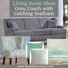 grey couch with calming seafoam accents home decor muse