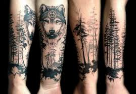angry grey and black wolf head with forest tattoo golfian com