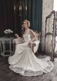 corset wedding dress mermaid sheer neckline ivory lace wedding dress with decorated bow