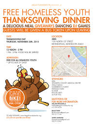 our thanksgiving dinner for homeless youth aegis foundation