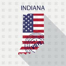 Indiana State Map State Of Indiana Map With Flag And Presidential Day Vote Stamp