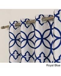 Royal Blue Blackout Curtains Savings On Aurora Home Faux Silk Reverse Geometric Trellis