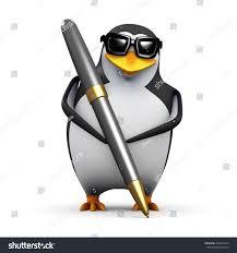 3d render penguin writing pen stock illustration 229242724