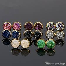 druzy stud earrings fashion women oval stud earrings rainbow druzy stud earrings women