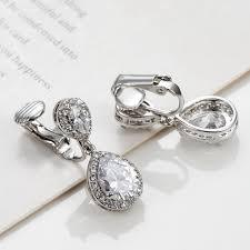 bridal clip on earrings clip on drop earrings for women rhodium plated waterdrop cz