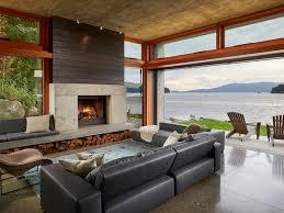 indoor outdoor reclaimed wooden fireplace surrounding hearth