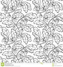 oak leaf acorn black white seamless background stock vector