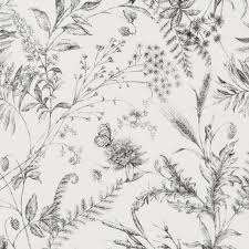 fern toile etched black wallpaper signature floral papers