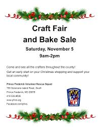craft fair and bake sale prince frederick volunteer rescue squad