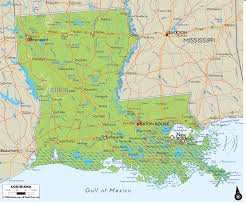Map Of New Orleans Area Physical Map Of Louisiana Ezilon Maps