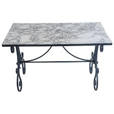 arabescato marble top wrought iron garden table france circa