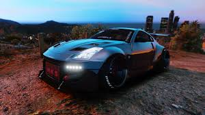 Nissan 350z Blue - nissan 350z rocket bunny kit stanced add on gta5 mods com
