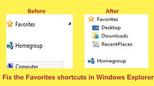 how to restore default favorites links in navigation pane of