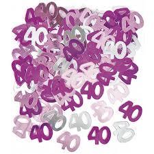 unique 40th birthday confetti pink purple silver mix