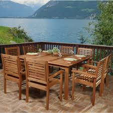 Wooden Square Dining Table Amazonia Livorno 9 Piece Square Eucalyptus Wood Patio Dining Set