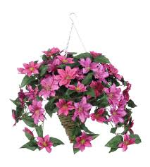artificial clematis hanging plant in beehive basket products